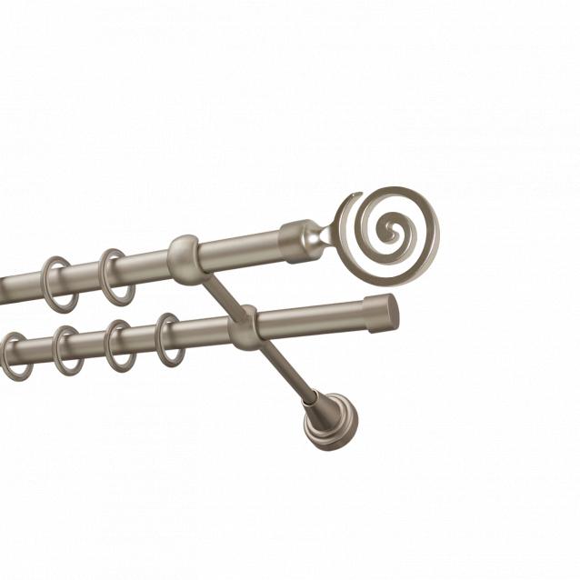 Металлический карниз для штор Спектр, двухрядный 16/16 мм, сталь, гладкая штанга, длина 300 см — купить в интернет-магазине в Красноярске